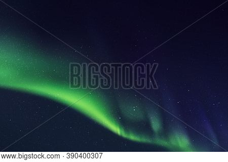 Abstract Background With Night Starry Sky And Northern Lights. Vector Illustration With Green Aurora