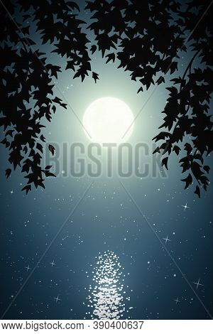 Landscape With Lake Framed By Branches On Moonlight Night. Blue Mysterious Background With Full Moon