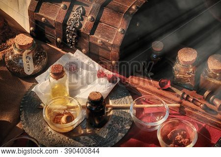 Production Of Spices And Seasonings In The Middle Ages. Tools For Mixing Ingredients, Retro. Vintage