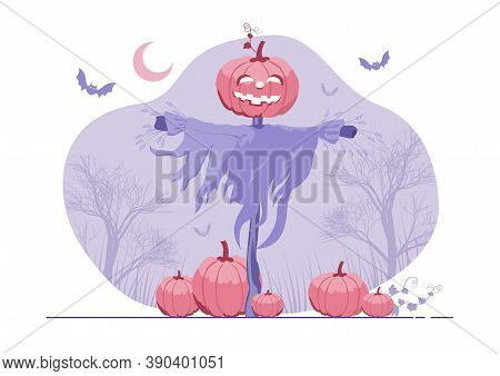 An Illustration Of A Halloween Scarecrow With A Jack O Lantern Head