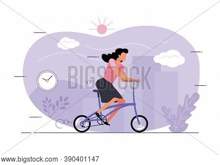 An Illustration Of A Woman Riding A Folding Bike In The City