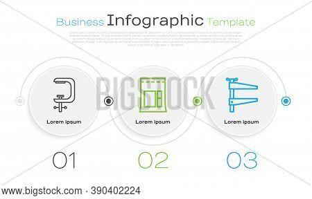 Set Line Clamp And Screw Tool, Cement Bag And Clamp Tool. Business Infographic Template. Vector