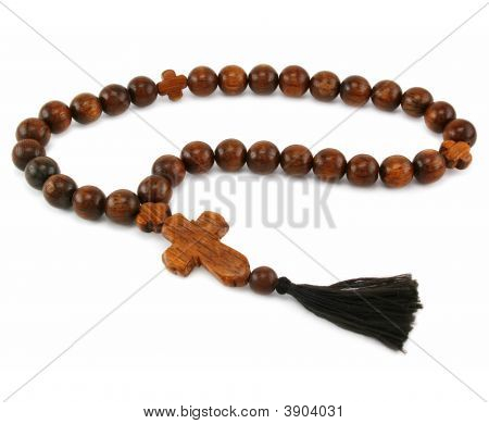 Wood Rosary Isolated