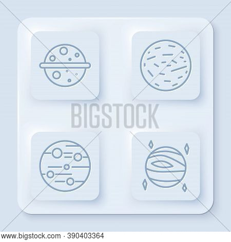 Set Line Planet Venus, Planet Mars, Planet Mars And Planet Venus. White Square Button. Vector