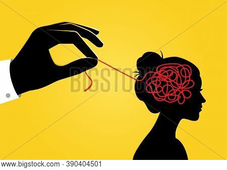An Illustration Of A Hand Unravelling Tangled String Inside Of Woman's Head