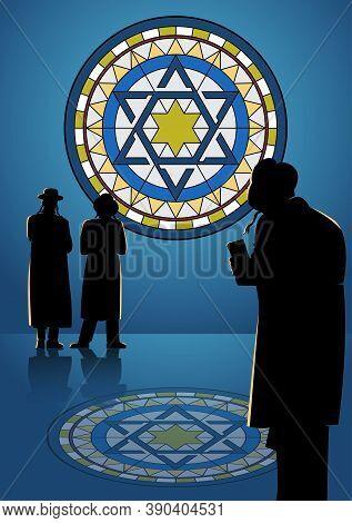 An Illustration Of Orthodox Jews Perform A Jewish Prayer Named Tashlich A Day Ahead Of Yom Kippur. Y