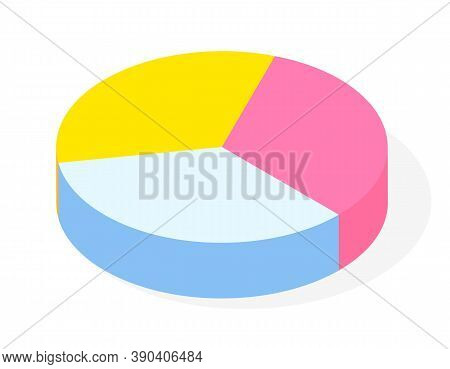 Colorful Vector 3d Pie Diagram, Pie Chart. Isometric Infographics. Financial Strategy. Visual Presen