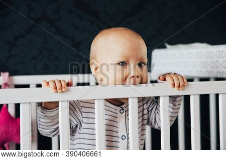 Baby Girl In His Bed, Bites His First Teeth,