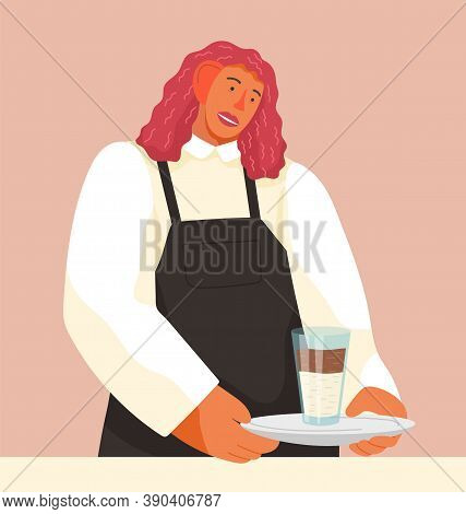 Close-up Of A Cartoon Waitress Holding Coffee Drink, Latte Or Cappuccino. Waitress Brings An Oprder.