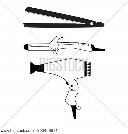 Hairdo Make Set With Hair Straightener, Curling Iron And Hair Dryer. Hairdresser Tool Outline Isolet