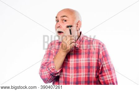 Shaving Facial Hair. Grooming Beard. Barbershop Concept. Man Bearded Handsome Barber Carefully Use T