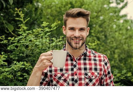 More Coffee. Fresh Inspiration And Energetic Beverage. Handsome Bearded Guy Drinking Tea Outdoor. He