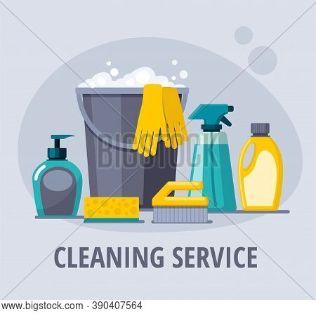 Cleaning Supplies. Spray, Spong, Brush, Bucket.  Cleaning Service Vector Web Banner.