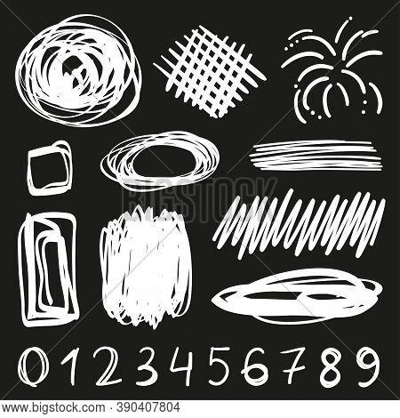 Tangled Geometric Shapes. Random Chaotic Lines. Hand Drawn Scrawls. Numbers. Black And White Illustr
