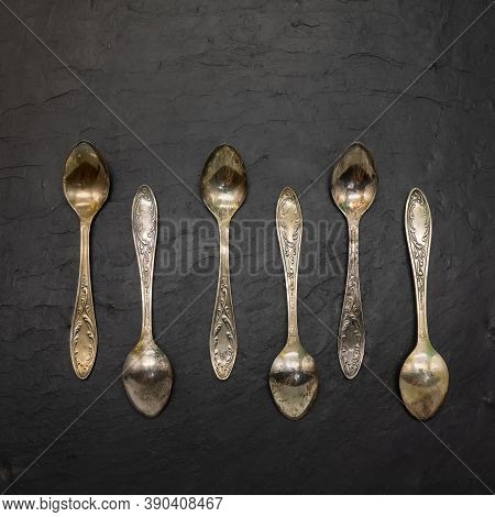 Set Of Six Tiny Cupronickel Coffee Spoons. Decorated With Floral Ornaments, Covered With Patina. The