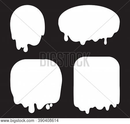 Slime Objects. Geometric Slimed Elements On Isolated Background