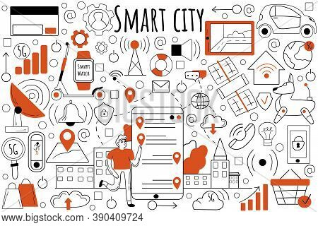 Smart City Doodle Set. Collection Of Hand Drawn Sketches Templates Patterns Of People Collecting Dat