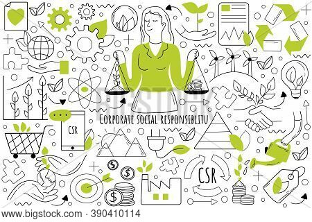 Corporate Social Responsibility Doodle Set. Collection Of Hand Drawn Templates Patterns Sketches Of