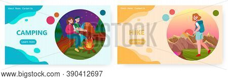 Couple Sit Next To Campfire In Forest. Hike And Outdoor Sport Activity Vector Concept Illustration.