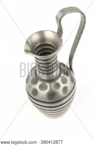 Metal Pitcher Isolated On White Background. Ancient Decorative Jug Vase With Handle And Spout.