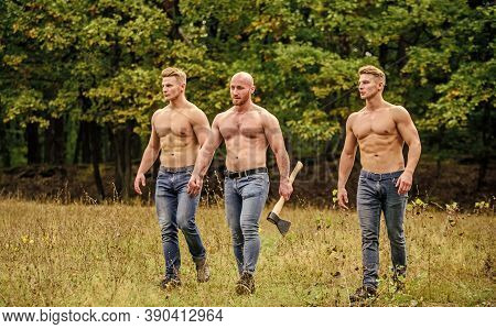 Wild Masculinity. Strength And Perseverance. Men With Muscular Torso. Brutal Macho Style. Strong Men