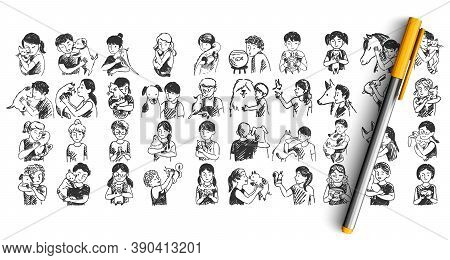 Kids With Pets Doodle Set. Colelction Of Pen Pencil Ink Hand Drawn Sketches Templates Pattern Of Chi