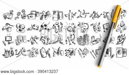 Trash Doodle Set. Collection Of Pen Pencil Hand Drawn Sketches Templates Patterns Of Human Wastes Wa
