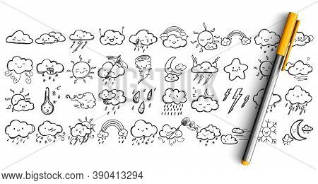 Weather Condtitions Doodle Set. Collection Of Pen Ink Pencil Drawing Sketches Of Clouds With Face Ex