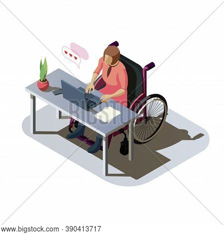 Woman With Disability At Desk Working On A Computer. Invalid Lady With Injury In A Wheelchair Doing