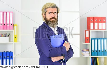 Confident Businessman Holding Documents. Businessman With Folder. Control And Inspection. Bearded Ma