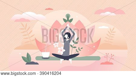 Holistic Healing As Man Soul Meditation And Inner Peace Tiny Person Concept. Healthy Male Relaxation