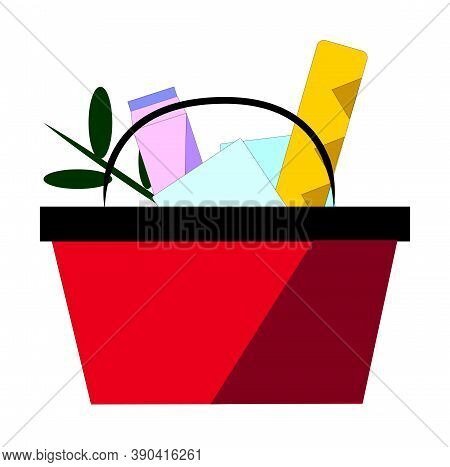 Red Plastic Shopping Basket Full Of Groceries Products. Grocery Store. Vector Illustration In Flat S