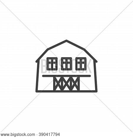 Barn House Line Icon. Linear Style Sign For Mobile Concept And Web Design. Farm Barn Outline Vector