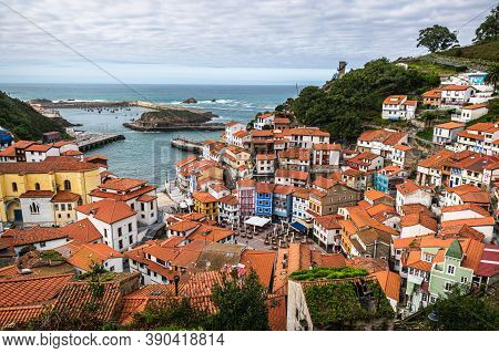 Cudillero, Asturias, Spain - 03 October 2020: Panoramic View Of The Rooftops Of Small Fishing Villag