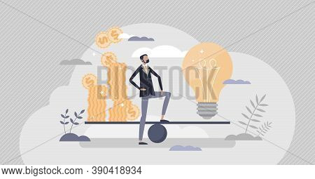 Money Idea As New Financial Innovation Price Evaluation Tiny Person Concept. Creative Solution Compa