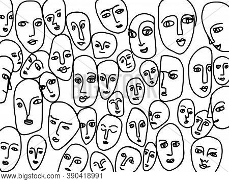 Hand-drawn Abstract Faces. Black Lines Form A Pattern Of Human Emotions. Creative Vector Concept Abo