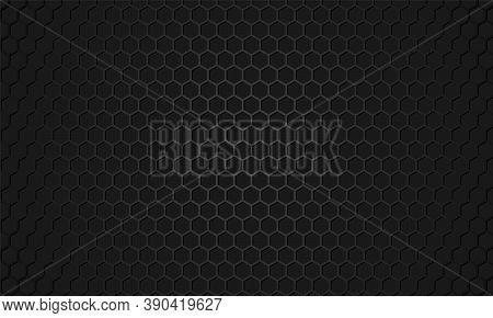 Black Hexagon Carbon Fiber Texture. Dark Gray Honeycomb Metal Texture Steel Background. Black Metal