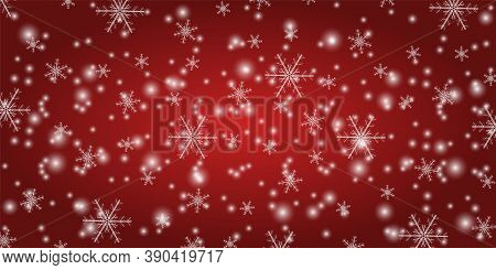 Snowfall On A Red Festive Background. Winter Snowflakes On A Vector Background. Shining Snow With Ch