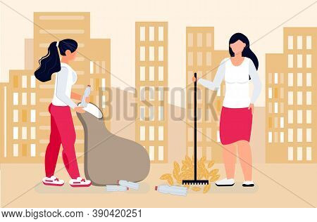 Volunteer Concept Vector. Social Workers Gathering Litter, Leaves, Empty Bottles. Assistants Or Welf