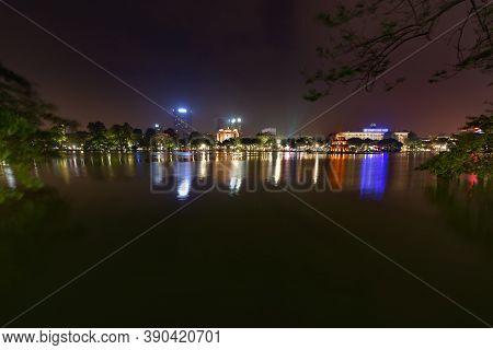 Hanoi Vietnam At Night Historical City Centre Reflection In Hoan Kiem Lake