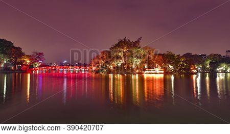 Red Bridge On Hoan Kiem Lake Connecting Ngoc Son Temple To The Lakeside