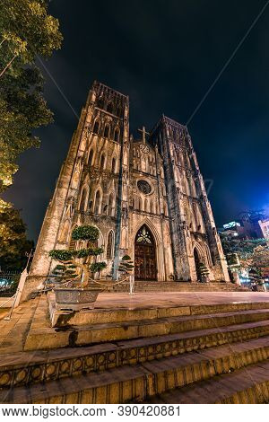 Gothic Church At Night,  St Joseph's Cathedral On Nha Chung Street Hanoi Vietnam