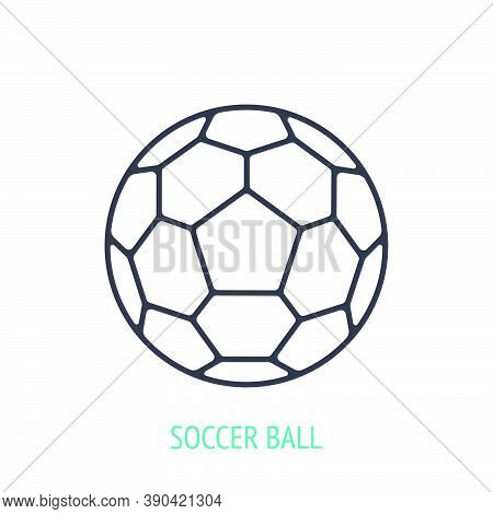 Leather Soccer Ball Outline Icon. Vector Illustration. Sports Equipment. Inventory For Athletic Game