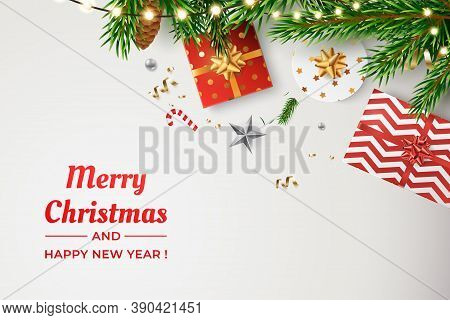 Christmas Vector Background. Composition Of Realistic Spruce Branches, Golden Confetti, Glowing Garl