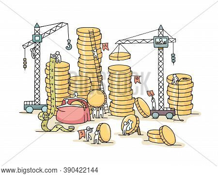 Sketch Of Stack Of Coins With Working Little People. Doodle Cute Miniature Of Construction Golden Co