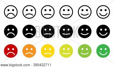 Emoticons. Feedback. Rating Scale With Smiles Representing Various Emotions. Emoticon Different Mood