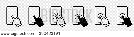 Mobile Phone. Smartphone Line Icons. Hand Holding Smartphone. Hand White Touch Screen And Click On T