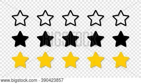 Star. Stars Vector Icons, Isolated. Rating 5 Stars. Vector Illustration