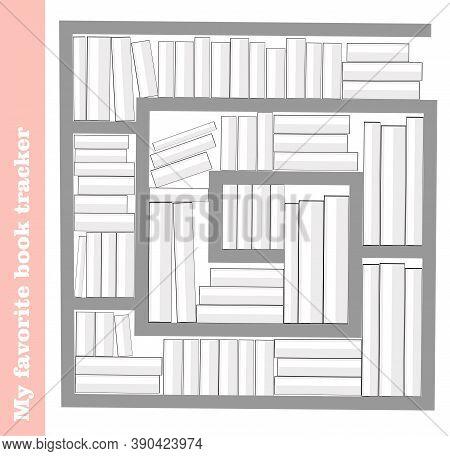 Tracker Reading Books. Book Tracker. Template For Organization. Illustration. Shelf With Books