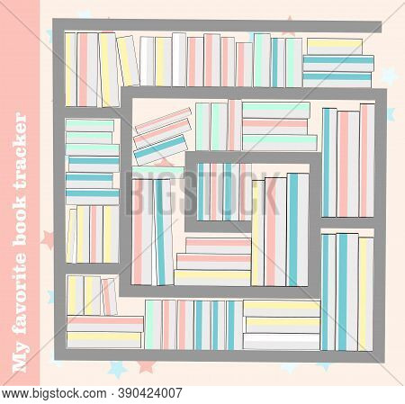 Reading Tracker. Literature And Library. Shelf With Books. Habit Tracker. Illustration.